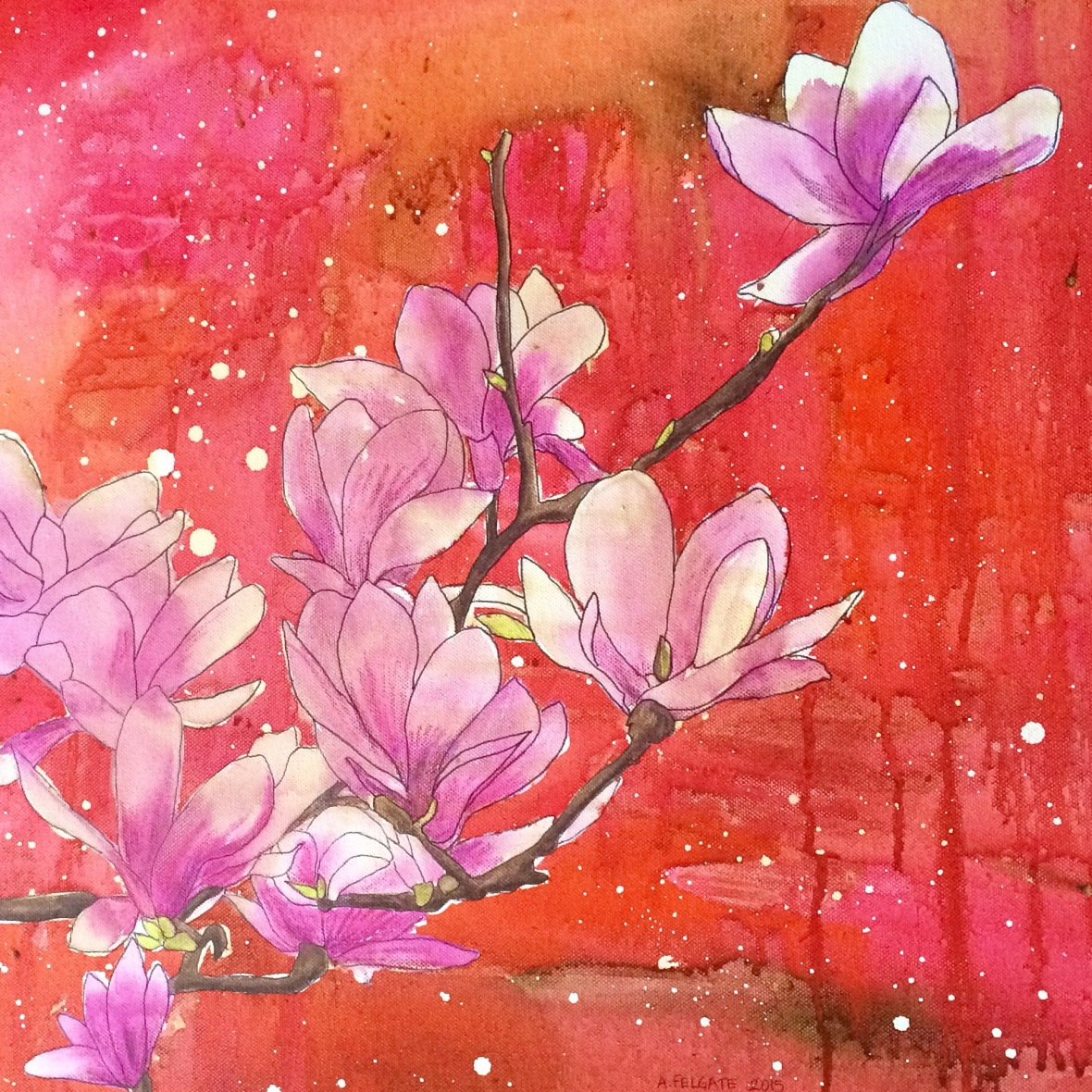 """""""Pink Magnolias on Red"""" 16"""" x 20"""" Canvas  AUD$525"""