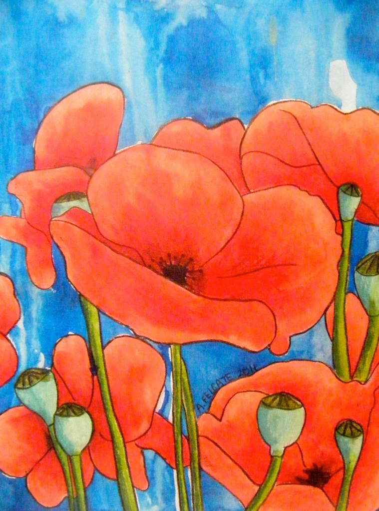 """""""Poppies in Blue"""" Mixed Media 200mm x 300mm AUD$200"""