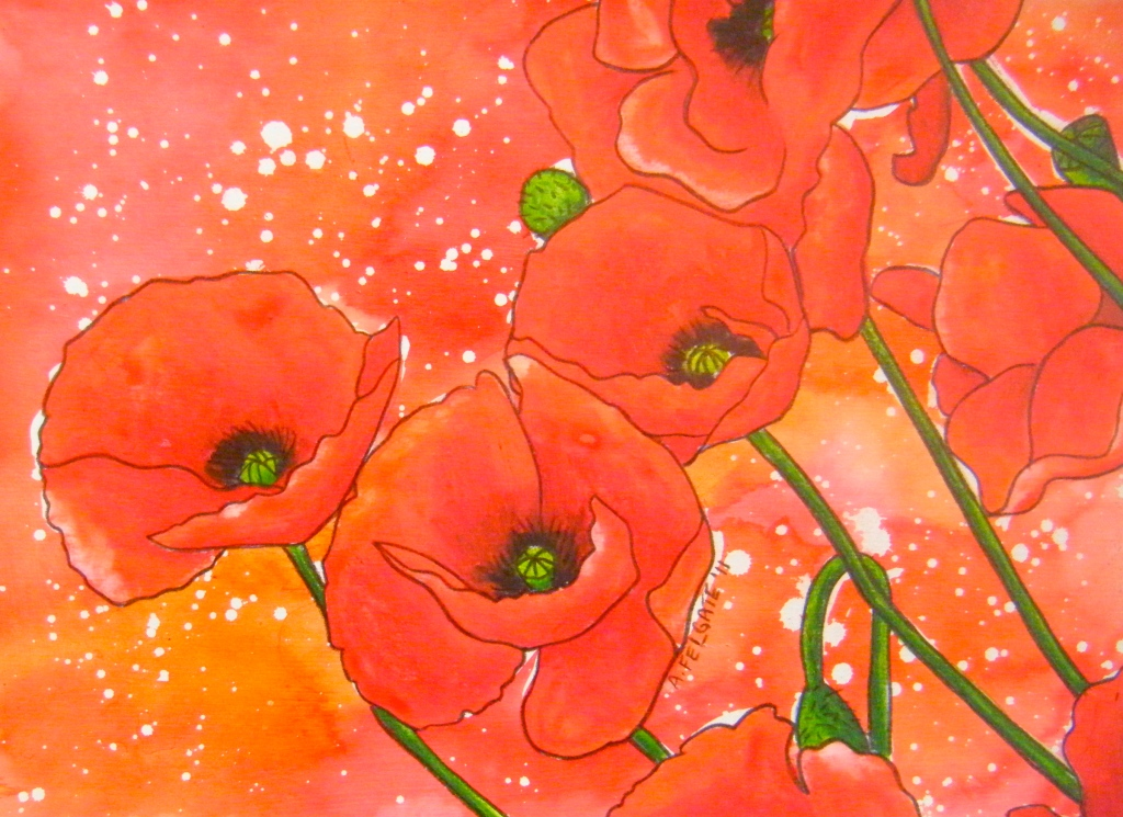 Red Poppies Watercolour pencil and ink on paper 200mm x 300mm AUD$200