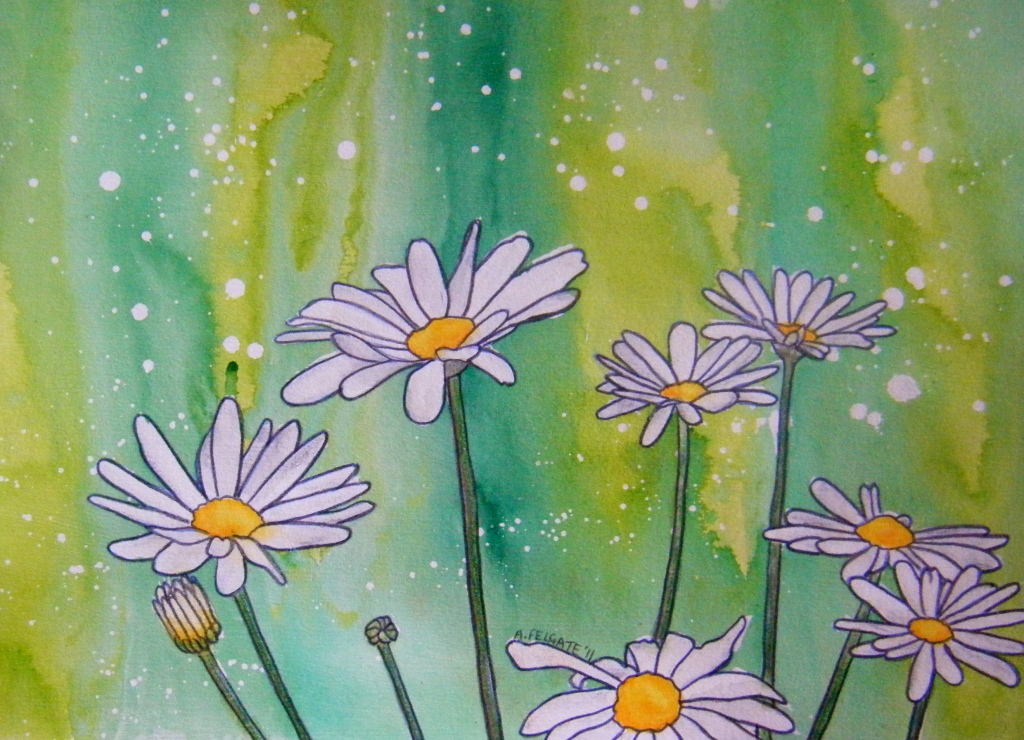 White Daisies Watercolour pencil and ink on paper 200mm x 300mm. AUD$200